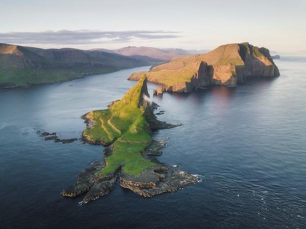 Tindólmur island on a beautiful summer evening