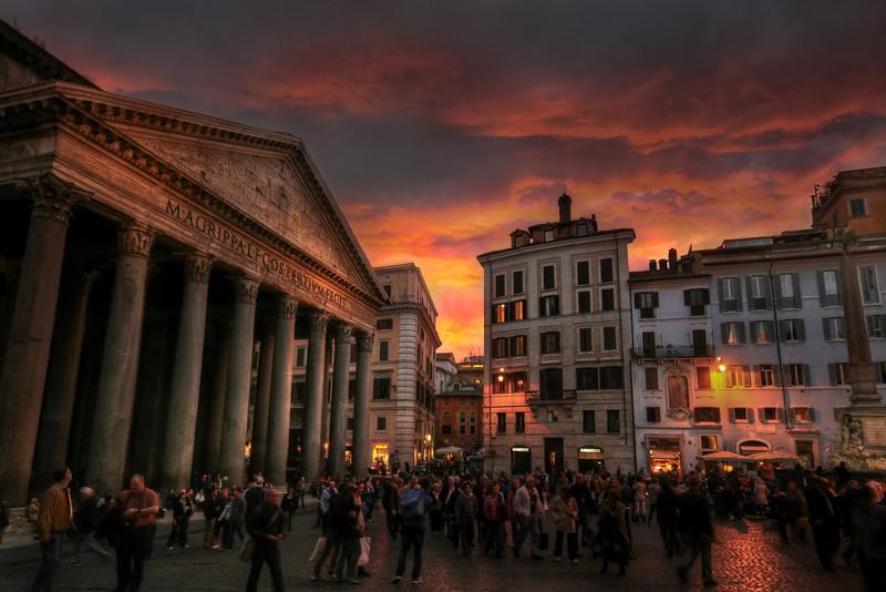 Pantheon Reflecting the Sun Setting