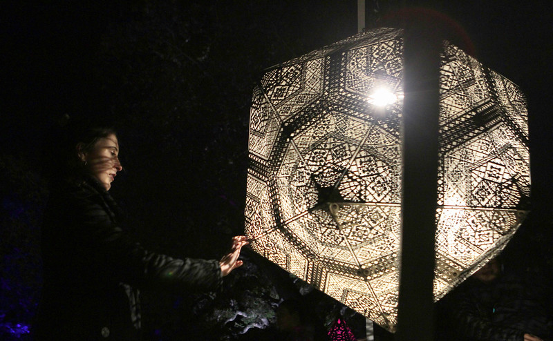 John Chaides / Courier<br /> Chloe Moissis plays with the Celestial Shadows Exhibit by HYBYCOZO at the Descanso Gardens' Enchanted Forest of Light on Tuesday, December 5, 2017.