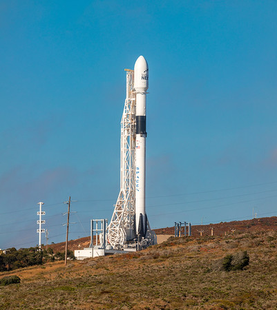 Hi-res panorama of SpaceX's first Block V Falcon 9 standing on SLC-4 East at Vandenberg Air Force Base.