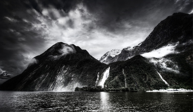 Milford Sound Waterfall in Black and White