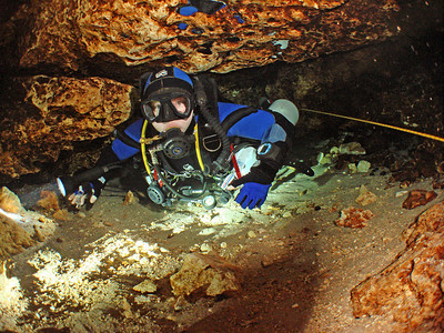 Diver entering Cow Springs, Suwannee County, Florida