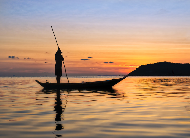 Beautiful Sunset With Fisherman On Koh Samui