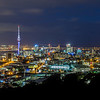 Colorful panorama over Auckland