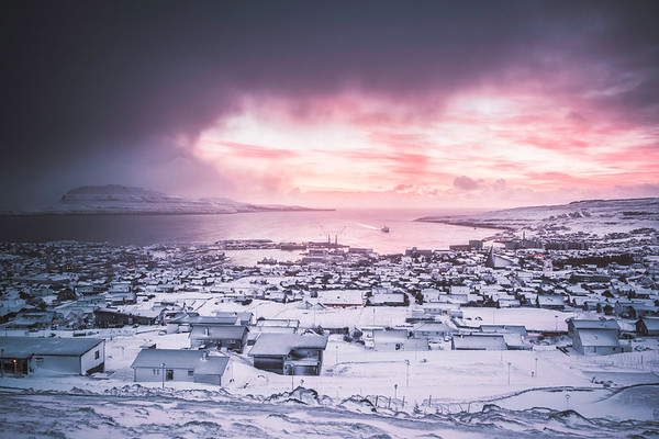 Torshavn, Faroe Islands after a snow storm