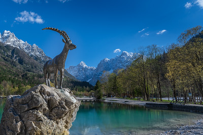 Ibex Statue at Mountain Lake Jasna