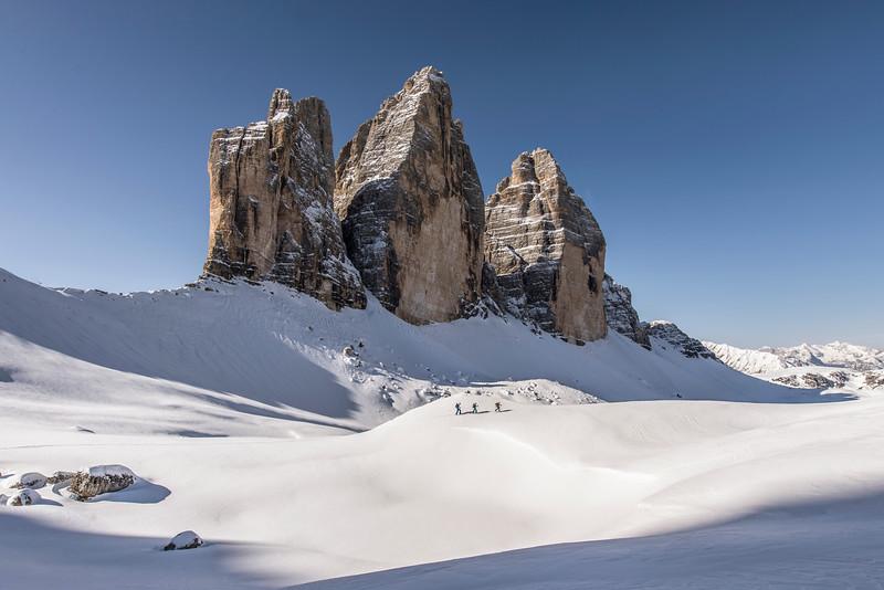 Ski touring at the Tre Cime