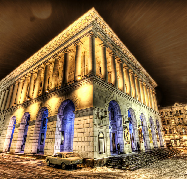 "<h2>A Snowy Night at the Kiev Opera House</h2> <br/>It was quite icy and snowy in Kiev that night.  I walked up near the opera house and found this shot.  The blue lights inside along with the old Soviet car out front gave it all a very cool feeling.<br/><br/>- Trey Ratcliff<br/><br/><a href=""http://www.stuckincustoms.com/2007/01/31/a-snowy-night-at-the-kiev-opera-house/"" rel=""nofollow"">Click here to read the rest of this post at the Stuck in Customs blog.</a>"