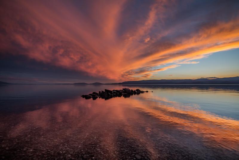 Fiery Cloud Tendrils Over Flathead Lake