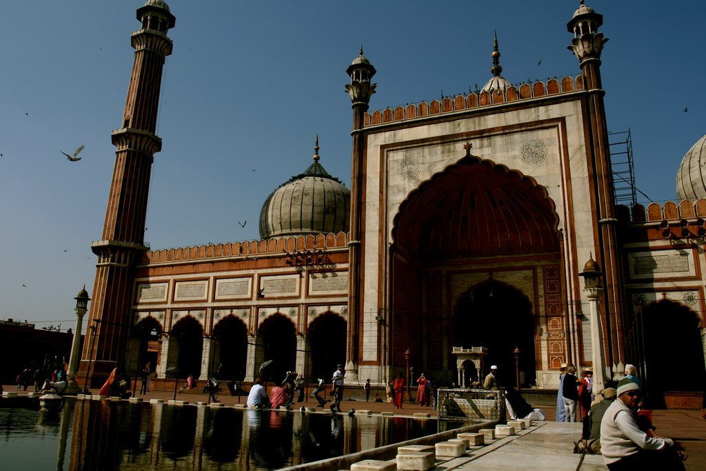 The Jama Masjid mosque, found in Delhi India. This is the largest mosque in India and quite a popular attract to see.