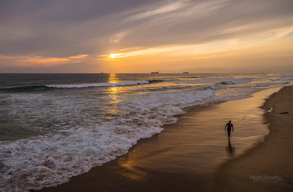 Surfer at Manhattan Beach