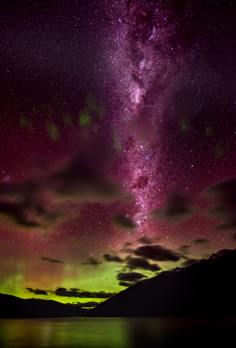 """Our Galaxy over QueenstownI took this photo on the evening of the Aurora Australis a few weeks ago. I came up with (BY ACCIDENT!) a new way of orienting the Milky Way so it goes straight up and down. Really, in the sky, it is a little bit tilted to the right. Anyway, here's the trick.When you take the photo, have your camera tilted to the left a bit. Then, when you crop later in Photoshop, turn on the """"Perspective"""" checkbox and drag over the upper left corner until it is parallel with the Milky Way. Only people that are good at visualizing photoshop can understand what I am saying here… but I hope it helps!Next time, I will do this trick by taking the tilted-photo on purpose! :)- Trey RatcliffClick here to read the entire post at the Stuck in Customs blog."""