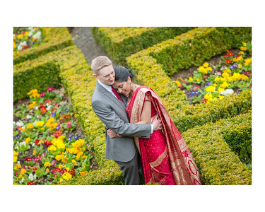 Wedding Photography of Fumi & Philip, Pollock House, Glasgow, Scotland, Photograph is of the Bride & Groom standing in the gardens of Pollock House