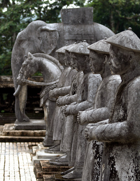 Hue, VN -- Khai Dinh's mausoleum; stone mandarins stand eternally at attention in the Court of Honor.