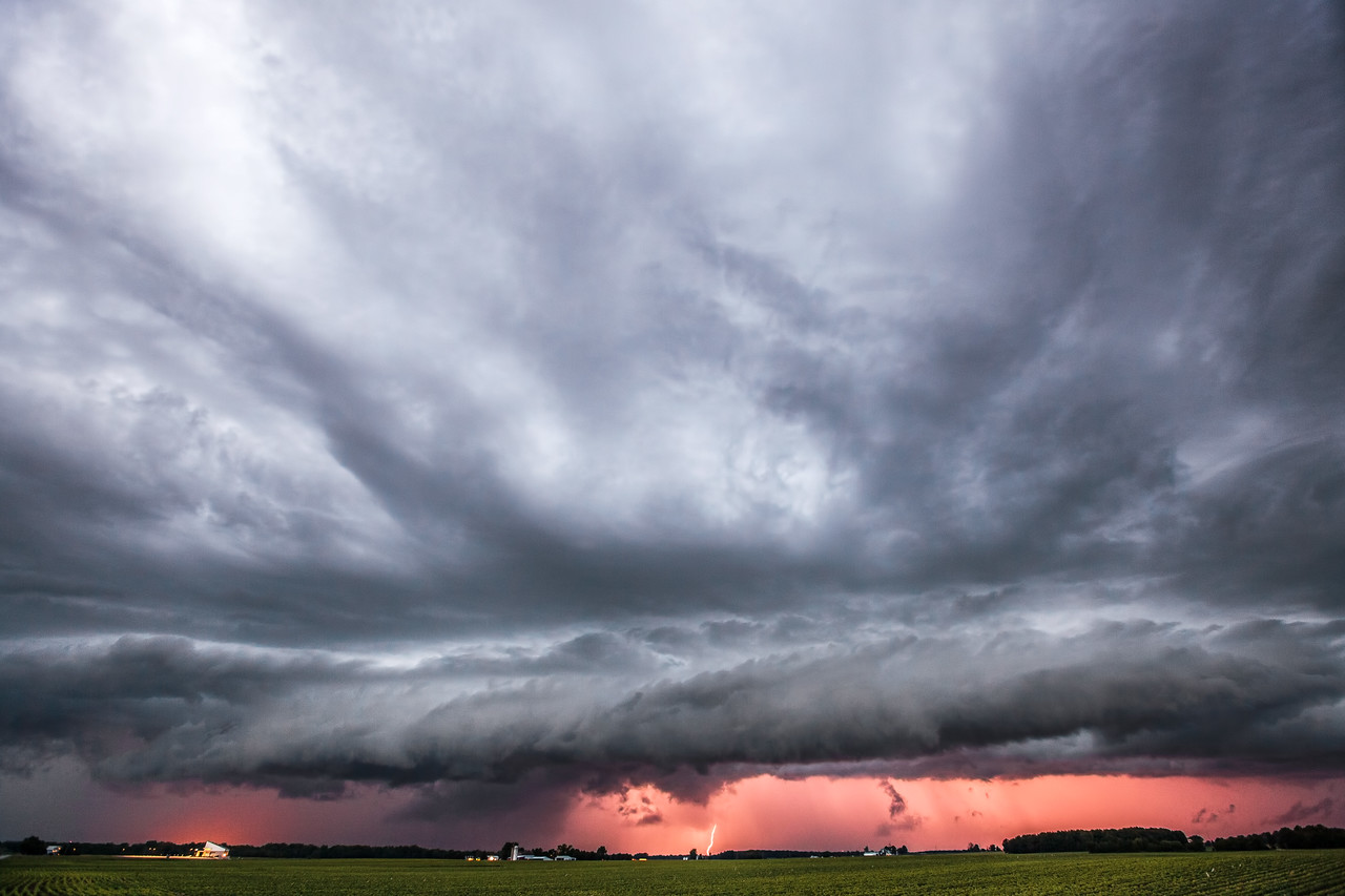 Shelf Cloud and Lightning at Sunset in Marysville, Ohio