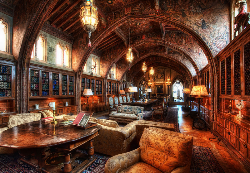 """<h2>The Gothic Study</h2> <br/>Note this is the """"small"""" library.  I'll post the main library in a few weeks! <br/><br/>As always, you can zoom in to see the details by clicking through.  The details are quite incredible, and I am sure you will delight in seeing the closeups of the hand-carved wooden arches and the painted Spanish ceilings...  it was all amazing!  If you look closely at the full res version towards the middle, you can see a portrait of WR Hearst when he was 31-years-old.<br/><br/>- Trey Ratcliff<br/><br/><a href=""""http://www.stuckincustoms.com/2010/02/03/the-gothic-study-the-private-library-of-william-randolph-hearst/"""" rel=""""nofollow"""">Click here to read the rest of this post at the Stuck in Customs blog.</a>"""