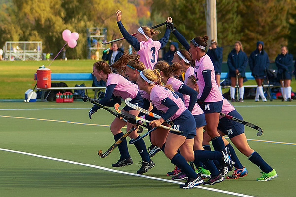 Middlebury Field Hockey Cheers after scoring victory