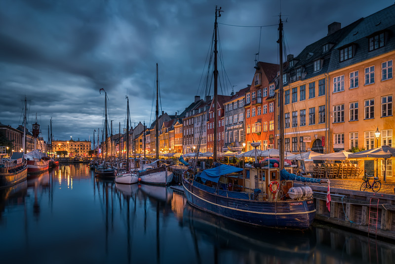 New Port in Copenhagen at night time