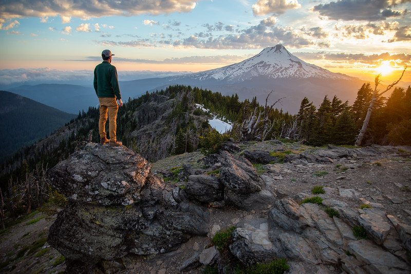 A dramatic sunset over Mount Hood in Oregon.