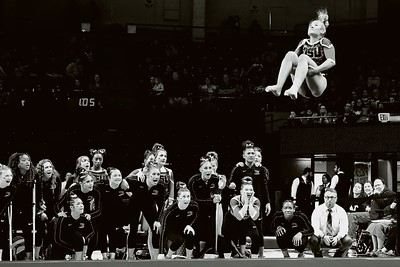 This year was my first opportunity to shoot a couple gymnastics meets. It became one of my favorite sports to photograph. It is a challenge to capture the fast moving athletes and I love the fact that their teammates always have great reactions.  Madi Dagen performs for Oregon State in the floor exercise. The Beavers finished second in their meet Feb 8, 2020 with a score of 196.70  to LSU (196.80)
