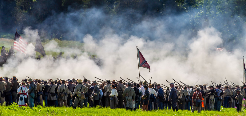 Confederates Fire into the Union Lines