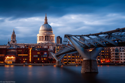 Blue Hour at St Paul's Cathedral and the Millennium Bridge, South Bank, London, England