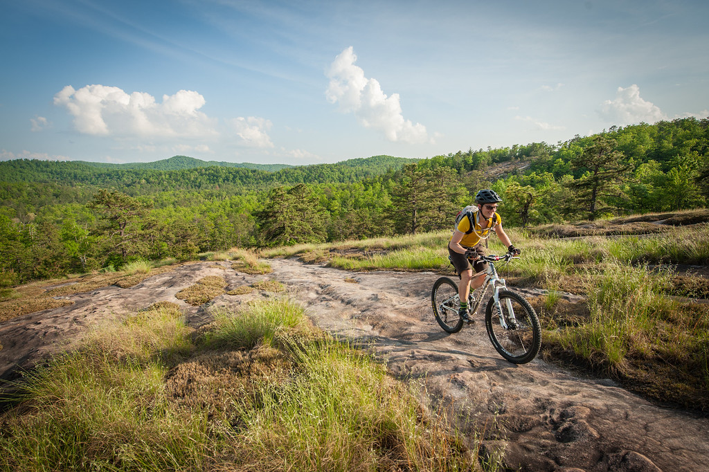 Nic Learmonth riding the Cedar Rock Trail in Dupont State Forest.