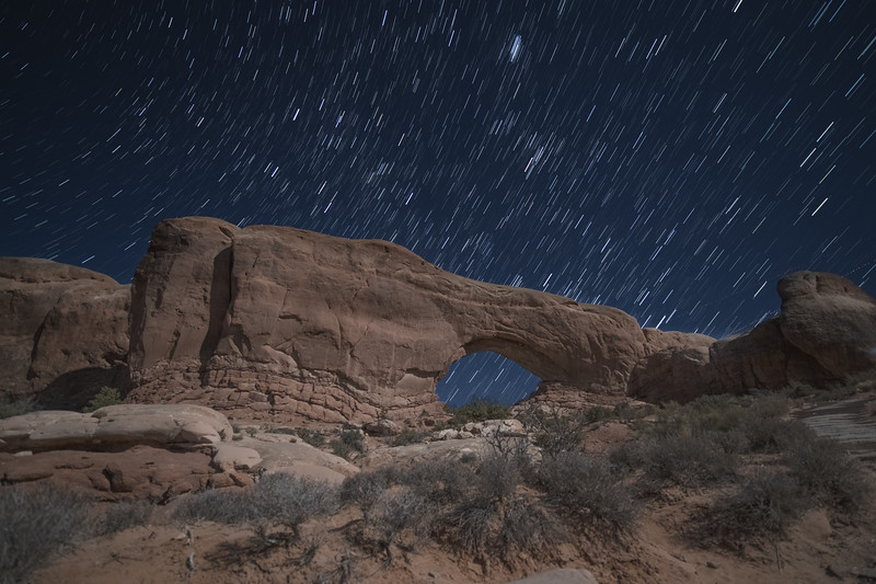 Star Trails over the Windows Arches, Utah