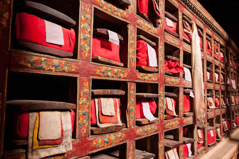 Tibetan Buddhist scriptures line the walls inside Leh Palace