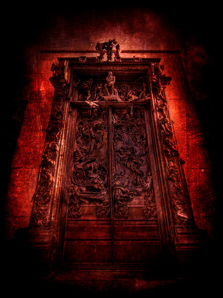 "<h2>Dante's Gates of Hell</h2> <br/>This is Rodin's huge famous La Porte de l""Enfer, also known as the Gates of Hell.  I found it off to the side of the Musee Rodin in Paris while I was in a tempestuous mood.  The sculpture depicts a scene from Dante's ""The Inferno"".  It contains over 180 of his finest sculptures.  If you look closely towards the center of the top, you can see ""The Thinker"", one of his most famous.<br/><br/>- Trey Ratcliff<br/><br/><a href=""http://www.stuckincustoms.com/2008/04/11/dantes-gates-of-hell/"" rel=""nofollow"">Click here to read the rest of this post at the Stuck in Customs blog.</a>"