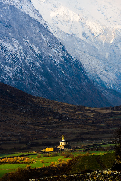 Lone stupa in the Tsum Valley, Nepal
