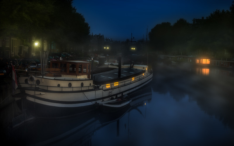 House Boat at night