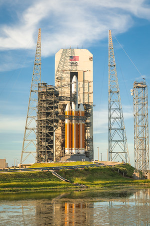 The ULA Mobile Service Tower at SLC-37B begins to roll back, revealing the mighty Delta IV Heavy.