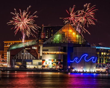 Holiday Fireworks Over the National Aquarium, Baltimore, Maryland