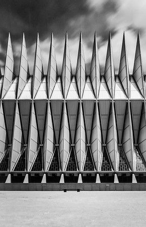 Air Force Academy Chapel Profile in B&W.