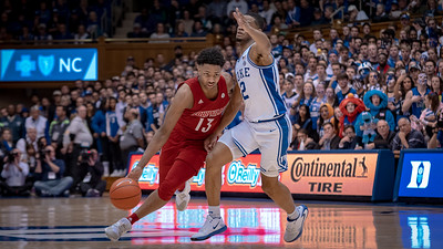 January 18, 2020: Louisville Guard David Johnson (13) and Duke Guard Cassius Stanley (2) during the game between the Louisville Cardinals and Duke Blue Devils at Cameron Indoor Stadium in Durham, NC.  Brian McWalters/CSM