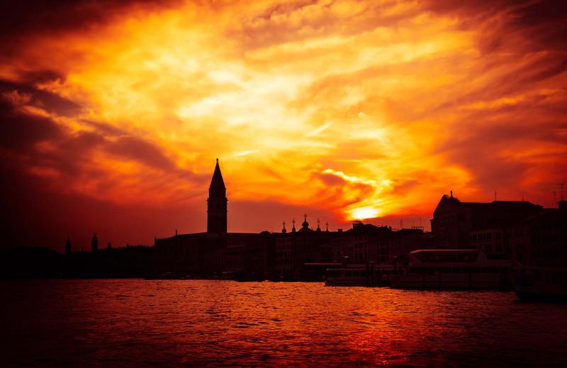 A Fire Sunset Over Venice
