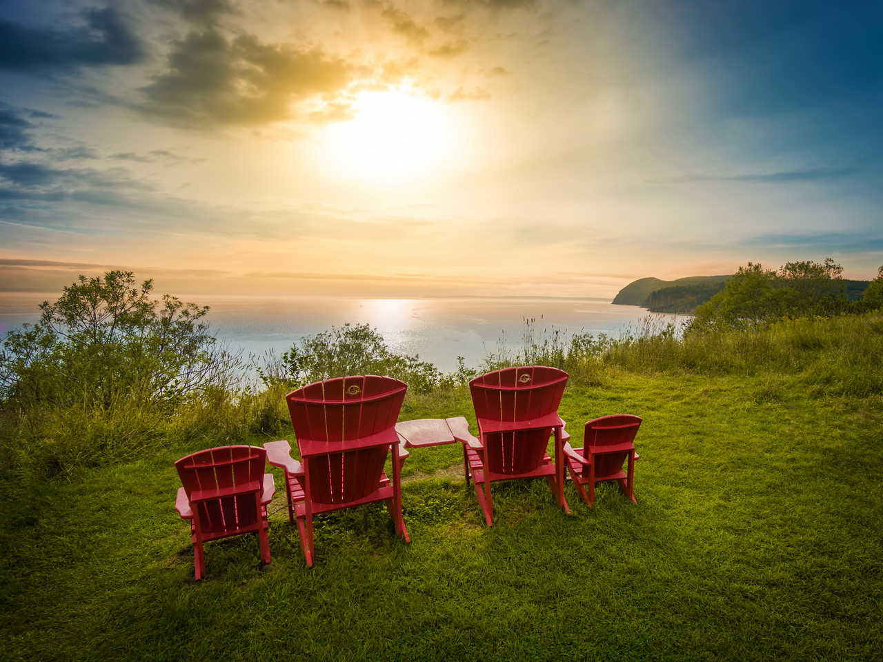 Red Chairs Over Bay of Fundy (New Brunswick)