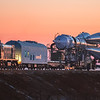 The Soyuz MS-07 rocket and its locomotive convoy rolling out to the launch pad at sunrise in Baikonur, Kazakhstan on December 15th, 2017. (Photo Credit: Trevor Mahlmann)