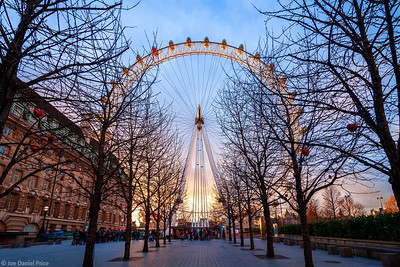 Spectacular Valentine's Day Sunset at The London Eye, Southbank, London, England