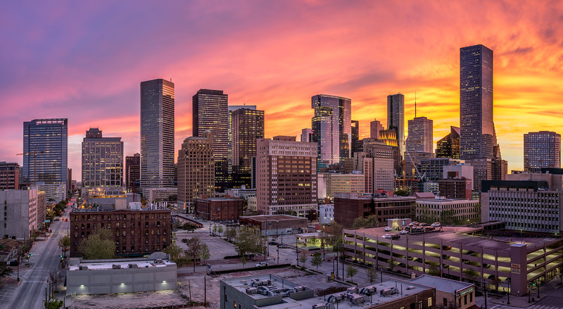 Downtown Houston Texas Sunset