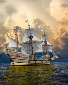 Mayflower II Orange Billowing Clouds