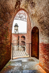 Arched view of lighthouse- Fort Point
