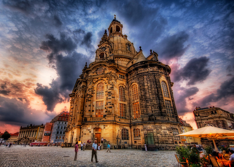 "<h2>The Bombing of Dresden</h2> <br/>This is one of the most famous churches in Dresden that was bombed to bits in WWII. When it was rebuilt just recently, they reused some of the old burned black bricks in the construction. If you look close, you can still see them in there on occasion.<br/><br/>- Trey Ratcliff<br/><br/><a href=""http://www.stuckincustoms.com/2008/10/29/the-bombing-of-dresden/"" rel=""nofollow"">Click here to read the rest of this post at the Stuck in Customs blog.</a>"
