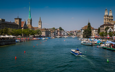 During Street Parade there are numerous boats on Lake Zurich and the Limmat river and here is the police boat checking if everything is Ok.