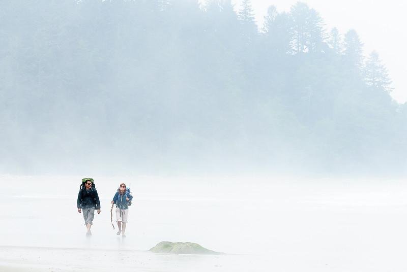 Hikers in the fog, Olympic Beach, Washington