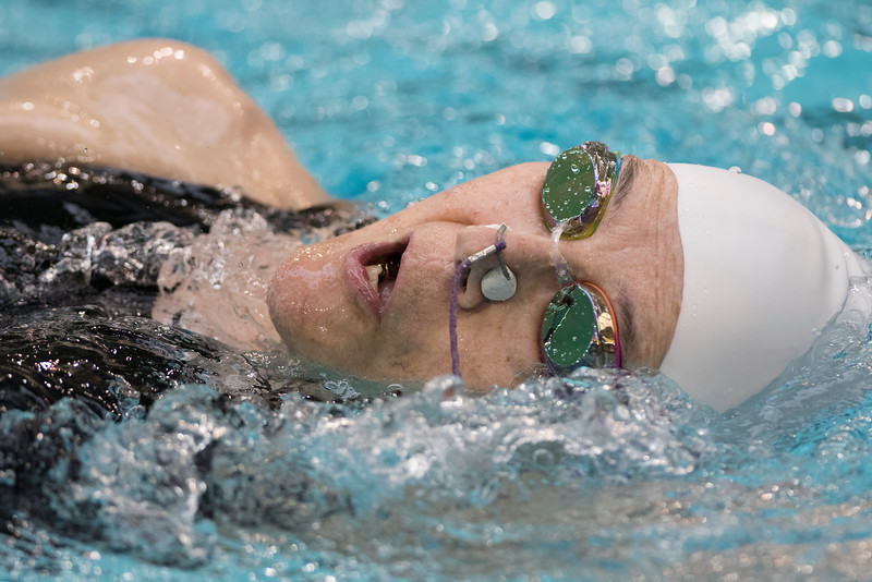 On July 9, 2015, at the National Senior Games Association competition in Freeman, Minn, swimmer Lauretta Jenkins is at the University of Minnesota doing the 100 yard back stroke race and is 76 years old. (Photo by Erica Jacques @2015)
