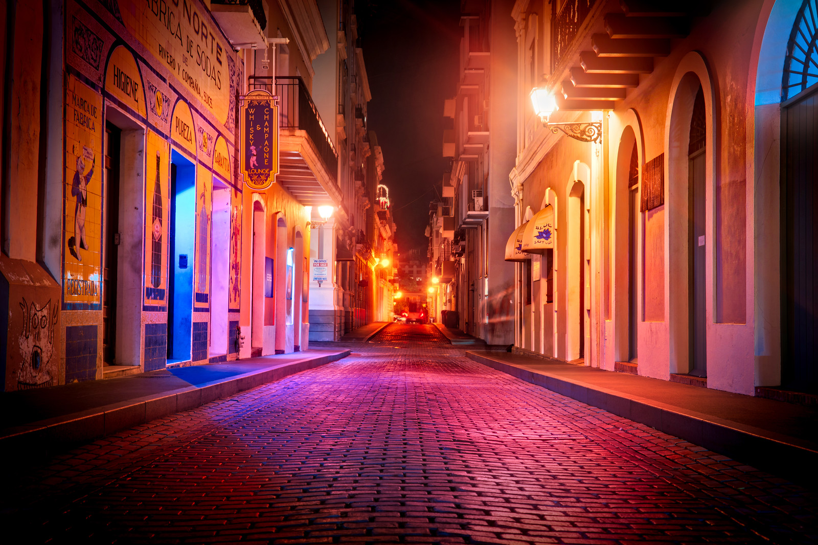 The Streets of Old San Juan at night