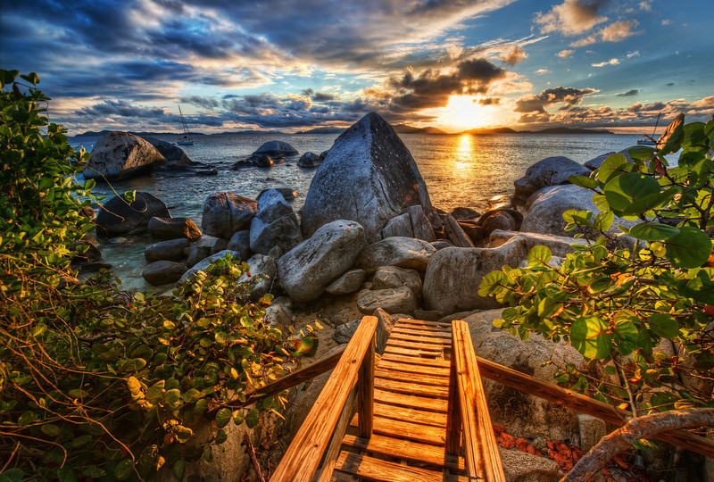 """<h2>The End of the Path</h2><br/>This is the very end of the long path from Toad Hall to the beach on Virgin Gorda. One thing this photo does not show is that there is about a 4-foot dropoff right below this path! It's no problem for a grownup to navigate, but it was a little logistical challenge to get three kids down there.<br/><br/>I took this path almost every day… for a little trip down to the beach to see what I could find…<br/><br/>- Trey Ratcliff<br/><br/><a href=""""http://www.stuckincustoms.com/2012/08/01/amazing-time-with-the-new-class/"""" rel=""""nofollow"""">Click here to read the whole post at the Stuck in Customs blog.</a>"""