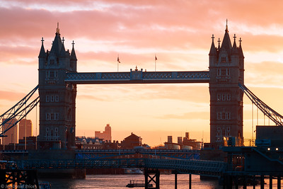 Dramatic Sunrise over Tower Bridge, London, England